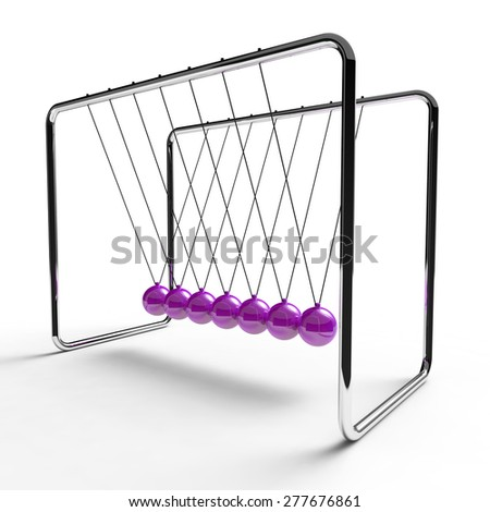 Newton's cradle with violet colored balls suspended from metal frame on a white background - stock photo