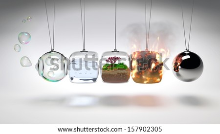 Newtons Cradle as 4 elements (air, water, earth, fire) - stock photo