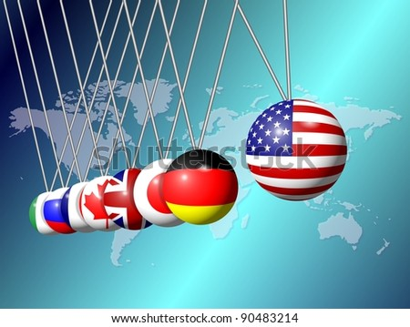 Newtons cradle balls replaced with flags of G8 group members / G8 Newtons cradle
