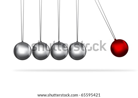 newtons cradle concept of teamwork and the individual represented by coloured balls - stock photo