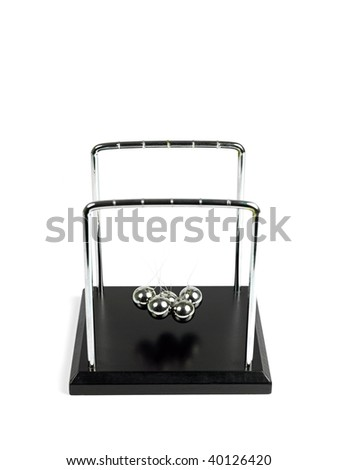 Newtons Cradle isolated against a white background - stock photo