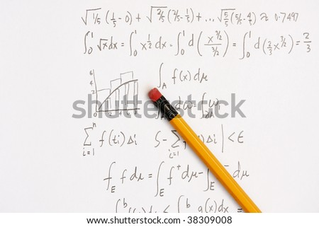 Newtons Integral calculus calculation - many uses in the education industry. - stock photo