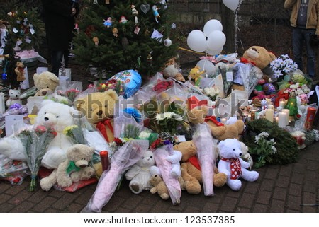 NEWTOWN, CT., USA-DEC. 16: Sandy Hook Elementary School shooting, Assorted Memorial for victims of the shooting, Dec 16, 2012 in Newtown, CT., USA - stock photo