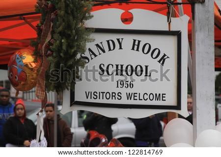 NEWTOWN, CT., USA, DEC 16, 2012: Sandy Hook Elementary School shooting, Sandy Hook hanging sign, Dec 16, 2012 in Newtown, CT., USA - stock photo