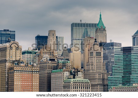 NewYork City panorama with Manhattan Skyline over Hudson River on cloudy day. NewYork City, USA - stock photo