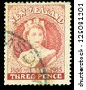 Newzealand - CIRCA 1955:A postage stamp printed by Newzealand shows the portrait of queen Elizabeth II , circa 1955. - stock photo