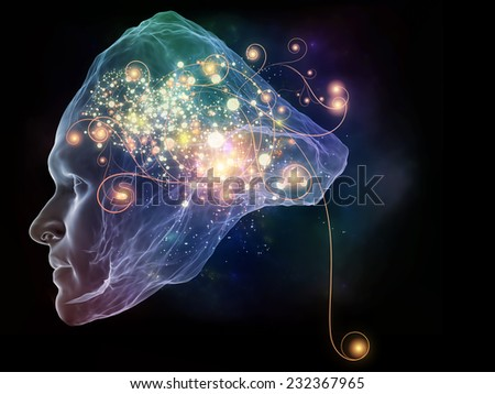 Next Generation AI series. Arrangement of fusion of human head and fractal shape on the subject of mind, consciousness and spirituality