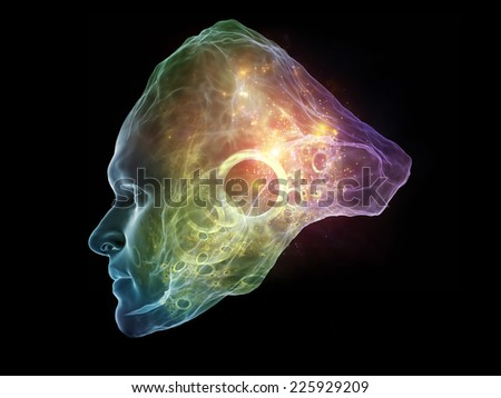 Next Generation AI series. Backdrop composed of fusion of human head and fractal shape and suitable for use in the projects on mind, consciousness and spirituality