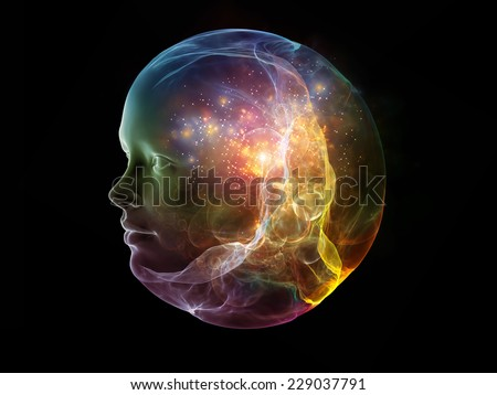 Next Generation AI series. Backdrop composed of fusion of human head and fractal shape and suitable for use in the projects on mind, consciousness and spirituality - stock photo