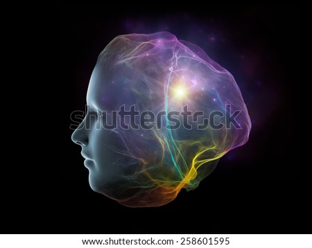 Next Generation AI series. Composition of fusion of human head and fractal shape on the subject of mind, consciousness and spirituality - stock photo