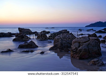 Ngapali beach in Myanmar - tropical ocean at twilight background