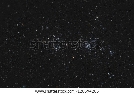 NGC 869 and NGC 884 Double Open Cluster in Perseus - stock photo