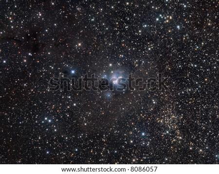NGC 7129 wide field in Cepheus - stock photo