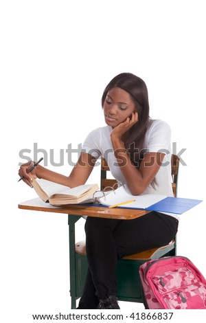 nglish spelling-bee contest education series - ethnic black female high school student studying dictionary preparing for test, exam or spelling bee contest