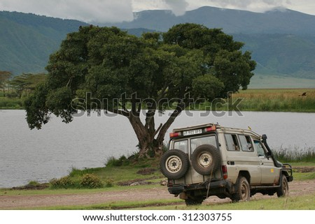 Ngorongoro Conservation Area , Tanzania - February 13, 2008: African Safari off-road, traveling in Ngorongoro crater, jeep safari, four-wheel drive vehicle is stopped near  lake with large lone tree. - stock photo