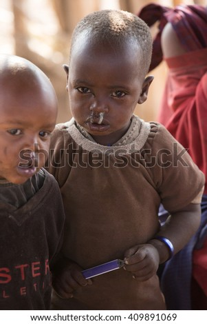 NgoroNgoro,Tanzania - JULY 21, 2014: children at school from Masai tribe in a local village in Tanzania
