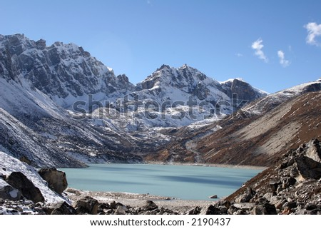 Ngozumba Tsho is Gokyo's 5th lake and a base camp for Mount Cho Oyo. - stock photo