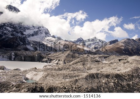 Ngozumpa Glacier as see from crossing from Dragnag to Gokyo.