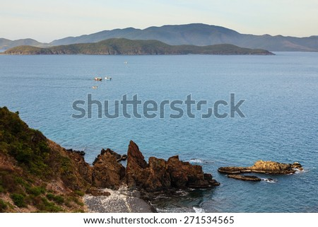 Nha Trang bay, Vietnam. View from Cu Hin pass (highway). It is in the south of Nha Trang city. Traveler could explorer the beautiful of Nha Trang beach from the highway. - stock photo