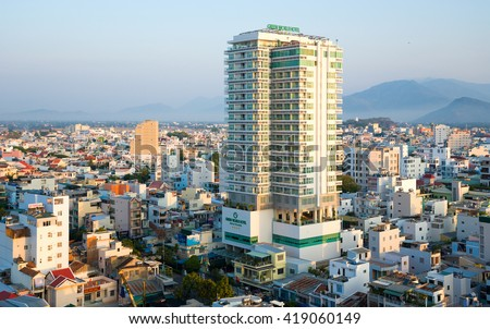 Nha Trang city panorama. Green World Hotel. Vietnam, 05/07/2015.