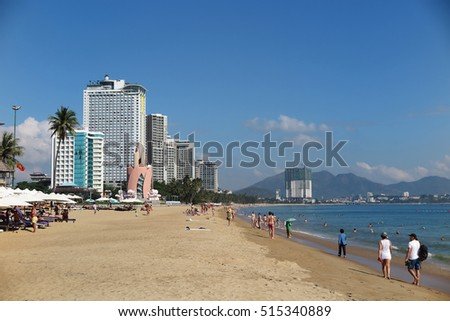 Nha Trang City (Vietnam) central beach and view at city against a blue sky, January 2016