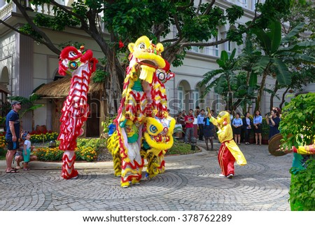 Nha Trang city,Vietnam-February 01,2016:artistic performances dragon-unicorn dance to welcome the New Year of the dancers in the city of Nha Trang.VN. It brings good luck to everyone in the whole year