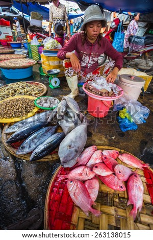 Nha Trang, Vietnam. DEC, 1, 2014. Sale of fish and seafood in market. Nha Trang, Vietnam - stock photo