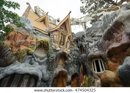 NHA TRANG, VIETNAM - JUNE 23, 2016: Unusual fairy tale's house in an amusement park in Vietnam