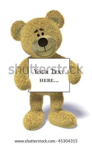Nhi Bear holding an empty white billboard in front of it. - stock photo