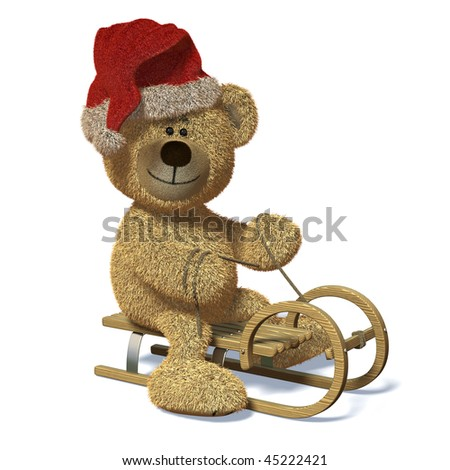 Nhi Bear riding on a sledge wearing Santa's Cap. - stock photo