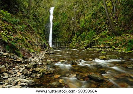 niagara creek and waterfall in goldstream provincial park, victoria, vancouver island, british columbia, canada - stock photo