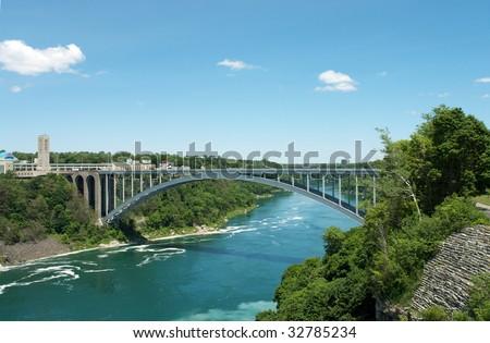 Niagara fall - bridge to Canada - stock photo