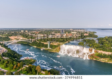 Niagara Falls Aerial View, American Falls, Canada - stock photo