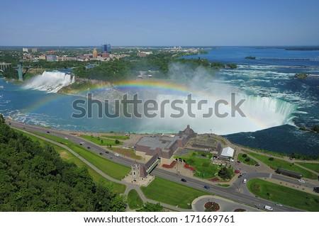 Niagara falls. American and Canadian border. - stock photo