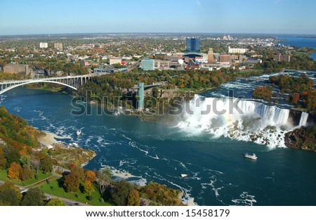 Niagara Falls and Rainbow Bridge - stock photo