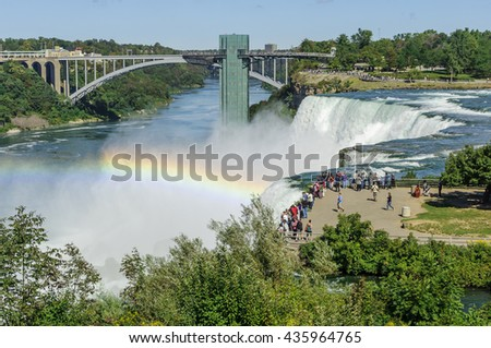 Niagara Falls and Rainbow Bridge, which connects the cities Niagara Falls, New York (USA) and Niagara Falls, Ontario (Canada) - stock photo