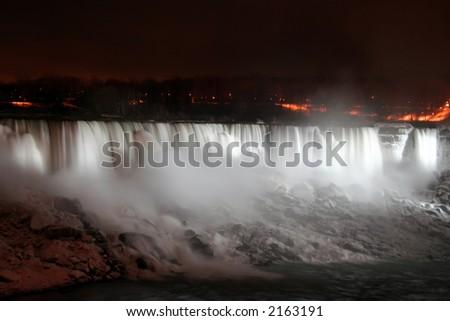 Niagara Falls at Night - American and Veil Falls - stock photo