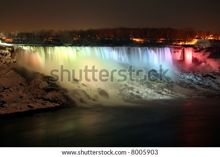 Niagara Falls at night in the winter- american falls - stock photo