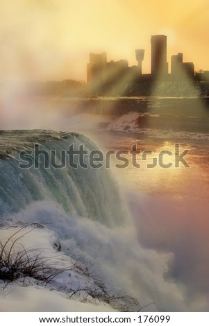 Niagara Falls at Sunset in Winter - stock photo