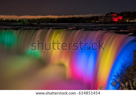 People Enjoying The Night View Of Niagara Falls