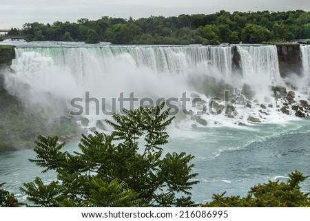 Niagara Falls closeup panorama in the day. - stock photo