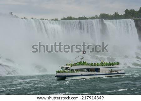 Niagara Falls closeup panorama in the day - stock photo