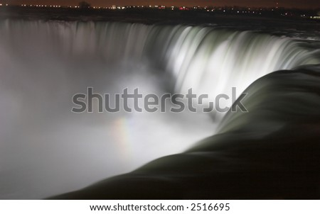 Niagara Falls Horseshoe Falls at night - stock photo