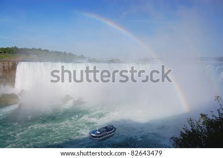Niagara Falls - Horshoe Falls Rainbow - stock photo