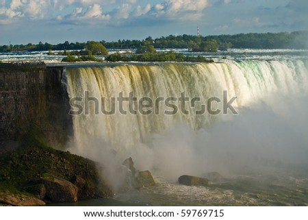 Niagara Falls in daytime light  (The Horseshoe falls) - stock photo