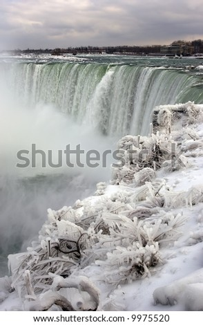 Niagara Falls in the winter; Canadian side (horseshoe falls).  Icy plants and snow in the foreground. - stock photo