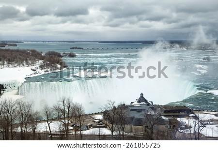 Niagara Falls in winter day - stock photo