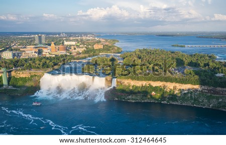 Niagara Falls/Niagara Falls in aerial view - stock photo