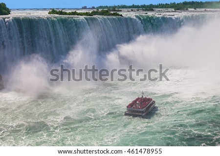 Niagara-Falls, Ontario, Canada - July 5, 2015: View of a tour boat, Hornblower, navigating near the horseshoe falls in Niagara Falls, Ontario, Canada