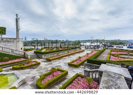 NIAGARA FALLS, ONTARIO, CANADA - SEPTEMBER 19, 2015 : The view of parks in tourist downtown area of Niagara Falls Ontario in an editorial image